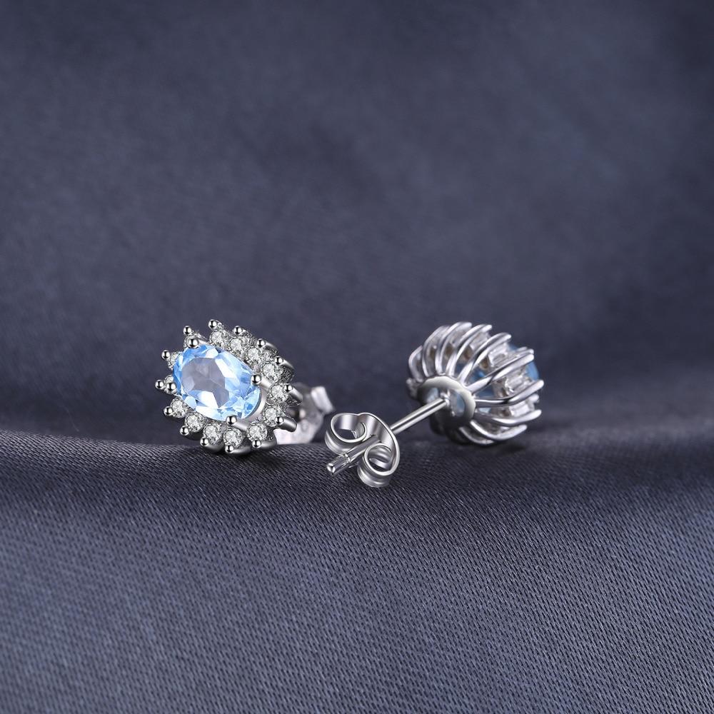 JewelryPalace Natural Topaz Gemstone Sırğalar Stud Orijinal 925 - Gözəl zərgərlik - Fotoqrafiya 4
