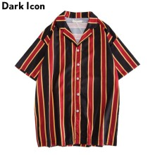 Dark Icon Stripe Shirt Men Short Sleeve 2019 Summer Turn-down Collar Beach Shirts for Hawaii 3 Colors
