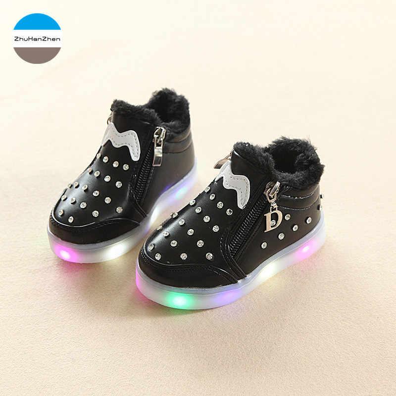 2019 Winter baby meisjes sneeuw boot warm kinderen katoen schoenen mode prinses schoenen LED heldere lichten sportschoenen 1 te 5 jaar oud