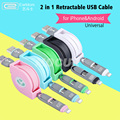 Universal 2.4A Retractable Micro USB Cable 2-IN-1 USB Cable for iPhone5/6/7/S/Plus&Android Samsung Huawei HTC LG SONY Xiaomi