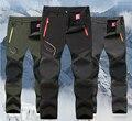 2017 Hombre Invierno Impermeable Pesca FleeceTreval Acampar Al Aire Libre Senderismo Pantalones de senderismo esquí de secado rápido Pantalón Softshell 5XL P16