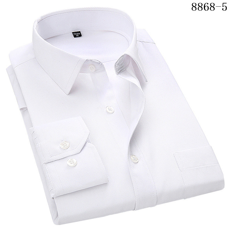 HTB1Ff4GWbvpK1RjSZFqq6AXUVXa8 - Large Size Men's Business Casual Long Sleeved Shirt White