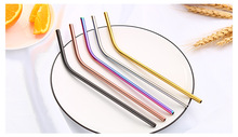 1PC Hot Sale Rainbow Color Stainless Steel Straw Set Mirror Polished Sucker Beverages Curved Drinks Straight PB 002