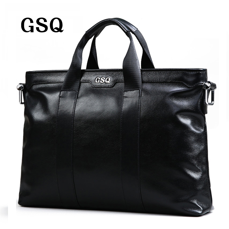 GSQ Genuine Leather Men Handbag Classic High Quality Leather Bag Business Men Bag 14inch Laptop Briefcase Messenger Bag G1881 new high quality leather men laptop briefcase bag 14 inch computer bags handbag business bag fashion laptop handbag for men
