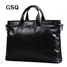 GSQ Echtes Leder Männer Handtasche Klassische Hochwertigem Leder Reißverschluss Stil Geschäftsleute Tasche 14 zoll Laptop Aktentasche Umhängetasche