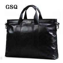 Gsq hombres de cuero genuino bolso clásico de cuero de alta calidad bolsa de los hombres de negocios bolsa de 14 pulgadas portátil bolsa de mensajero maletín g1881