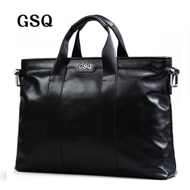 Gsq hombres de cuero genuino bolso clásico de cuero de alta calidad bolsa de los