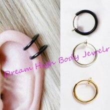 Fake Piercing Nose Ring Clip On Lip Hoop Rings Earrings Silver Steel Black Ear Stud Body Jewelry Punk Round No Hole