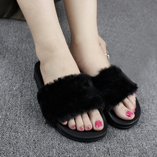 Slippers Women Zapatos Mujer Lady Slip on Sliders Fluffy Faux Fur Flat Fashion Female Casual Slipper Flip Flop Flat Shoes Women caged flat sliders