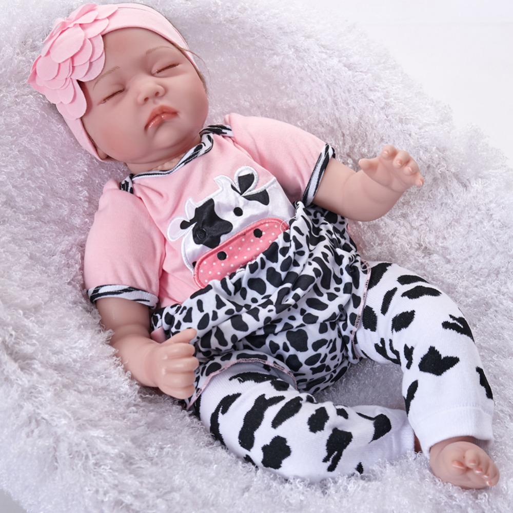 55cm Lifelike Reborn Baby Dolls Soft Vinyl Silicone Reborn Doll bebe reborn realista Accompanying doll Toys for Girls Children