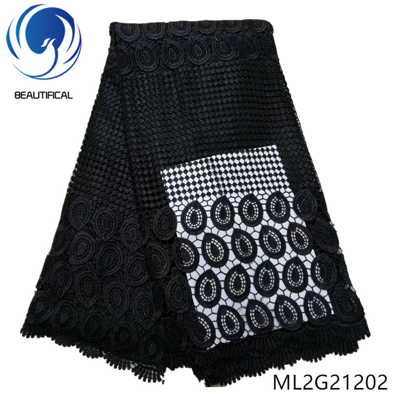 BEAUTIFICAL Nigerian lace fabrics Black water soluble lace fabric for dress high quality guipure lace fabric 5yards ML2G212