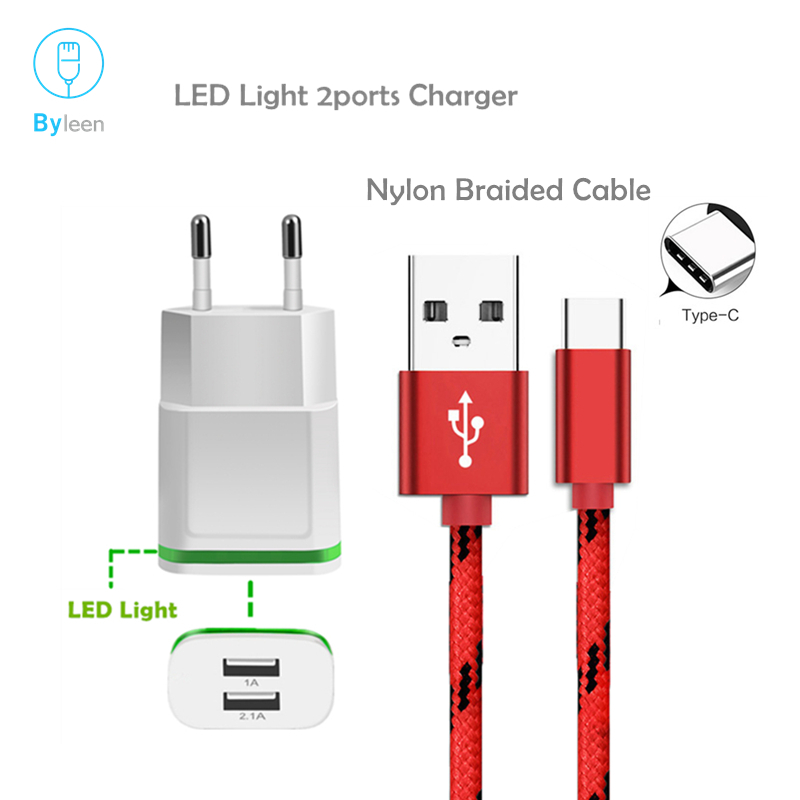 Byleen <font><b>5V</b></font> 2A/<font><b>1A</b></font> 2 Ports USB Adapter Schnell Ladegerät USB C Lade Linie Für Huawei P20 Lite pro Nova 3s Plus honor 10 9 lg v30 g6 image