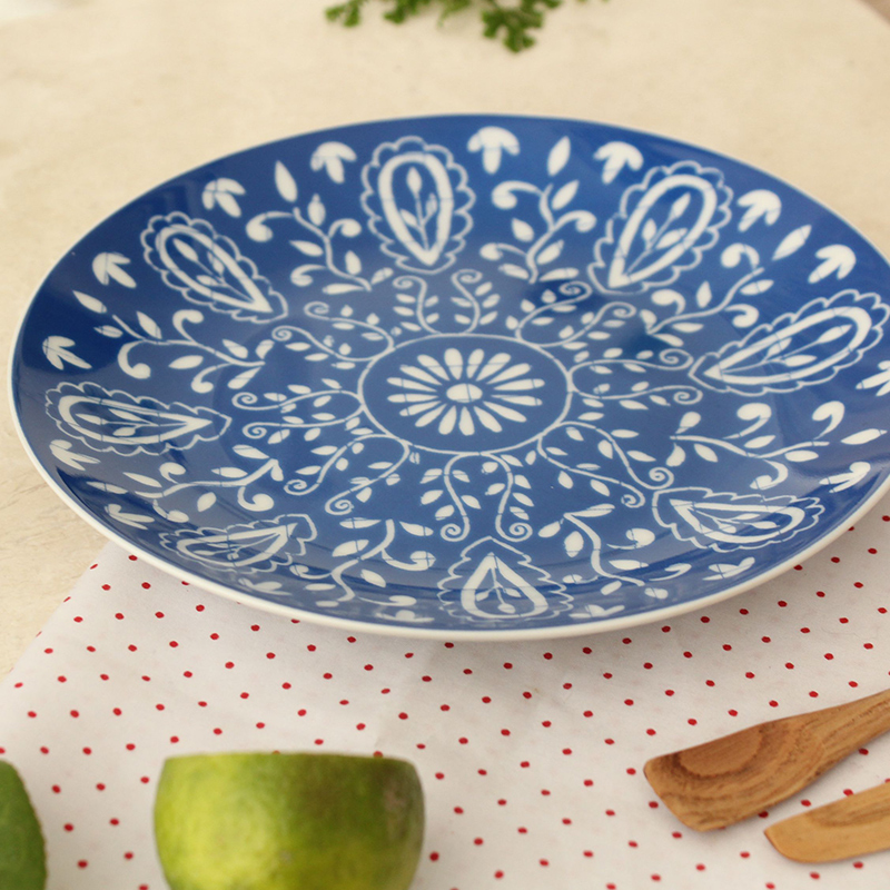 North European Style Ceramic Dishes \u0026 Plates Kitchen Pottery On glazed Round Blue Flower Printed Plate Dinner Steak Dish 10Inch-in Dishes \u0026 Plates from Home ...  sc 1 st  AliExpress.com & North European Style Ceramic Dishes \u0026 Plates Kitchen Pottery On ...