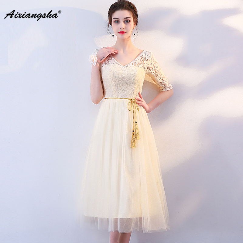 New arrival Ivory Bridesmaid Dresses A-Line Knee-Length Short Sleeves Lace Appliques Long Elegant Dresses With Crystal Belt 2018
