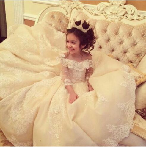 E-Marry Flower Girl Dresses for Weddings with Train Lace Ball Gown Little Girls Dresses White Ivory Wedding Party Dress 2017