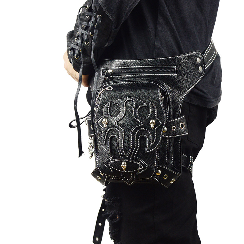 2018 Hot Sale Steam Punk Holster Bag Rock Canvas Steampunk Bag Retro Goth Shoulder PU Leather Waist Bag For Men Mini Packs chrismas gift steampunk bag steam punk retro rock gothic bag goth shoulder waist bags packs victorian style women men leg