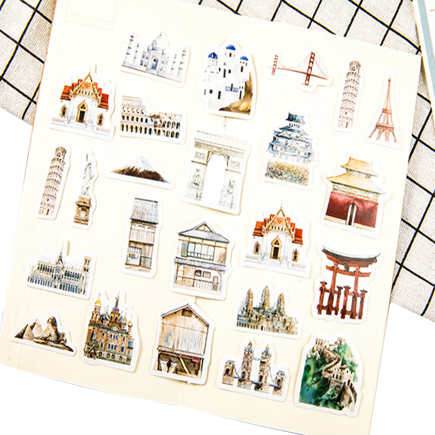 20packs Retro Diary Stickers World Architectural History Cute Planner Scrapbooking DIY Dairy Sticker Office School Supplies in Stickers from Home Garden