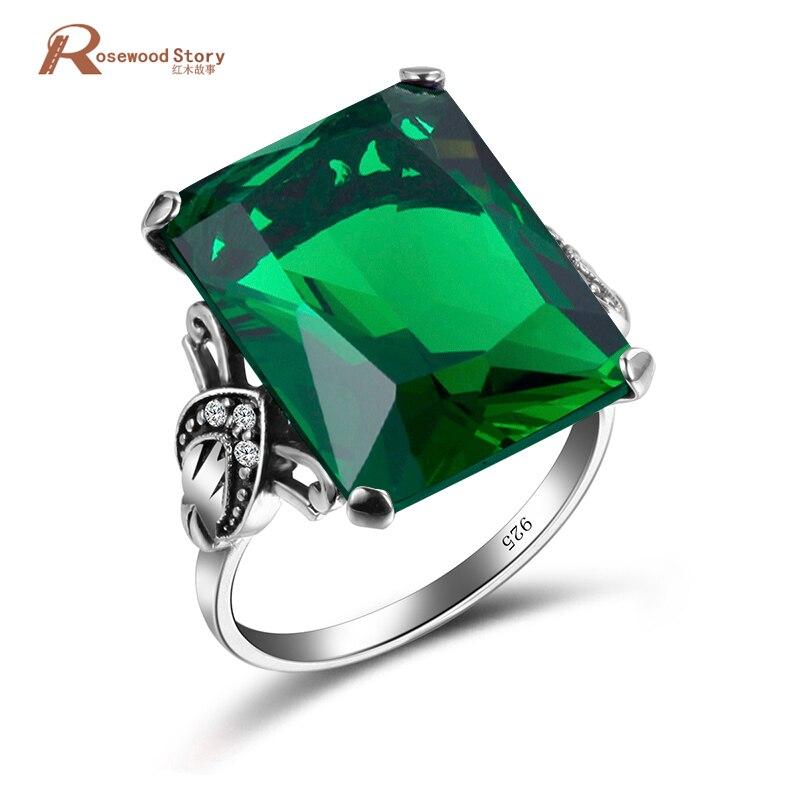 Bohemian Female Geometric Ring Green Birthstone 925 Sterling Silver Jewelry Vintage Wedding Rings For Women цены