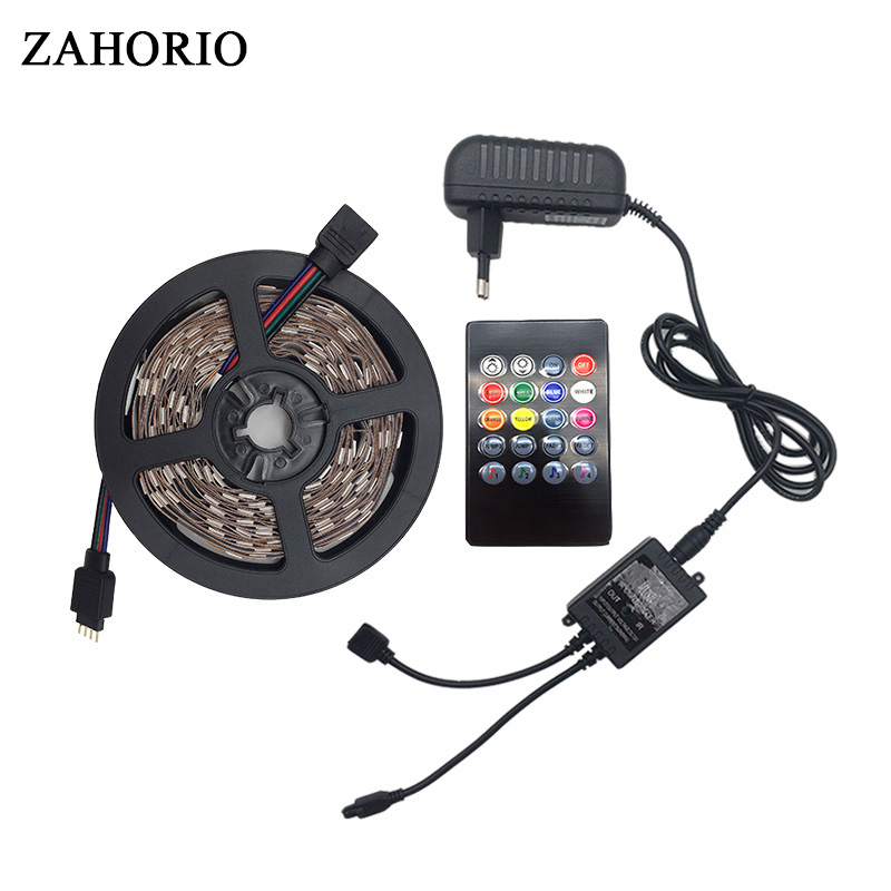 5050 RGB led strip light 5M 10M 150LEDs 300LEDs Waterproof Diode Tape led Ribbon With Music Controller DC12V Power Adapter