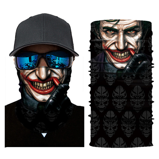 Cycling Headscarf 3D Printing Skull Face Mask Scarf Ghost Dust-proof Snowboard Neck Warmer Face Shield Balaclava Bandana AC0243 2
