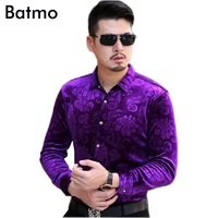 2017 New Arrival Printed Casual Purple Cashmere Warm Men S Shirt Fashion Thick Shirt Men 4