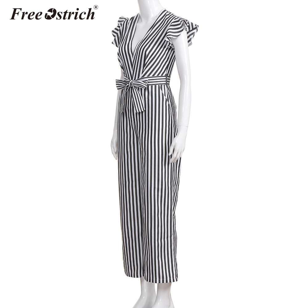 Free Ostrich Jumpsuit Women 2018 Summer Women Summer Sleeveless Striped Halter Ruffle Sexy Plus Size Jumpsuit N30 3