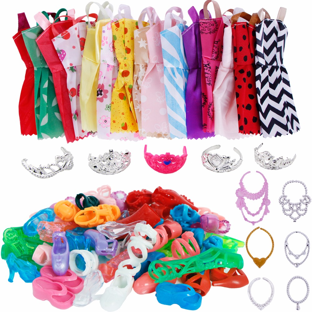 Random 35 Items/Set = 12x Mix Handmade Dress + 12x Shoes + 5x Plastic Crown + 6x Necklaces Clothes For Barbie Doll Accessories 2 items 1dress 1 set accessories 1pair earing 1necklace little girls s gift luxurious wedding dress for barbie doll