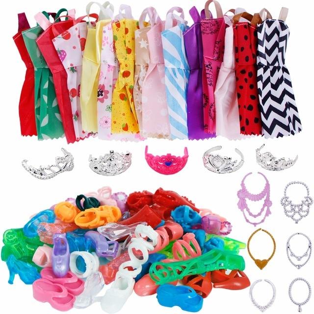 Random 35 Items Set   12x Mix Handmade Dress + 12x Shoes + 5x Plastic Crown  + 6x Necklaces Clothes For Barbie Doll Accessories c811bb9ec5df
