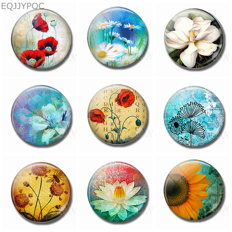 Flower World Fridge Magnet Poppies Daisy Lotus Sunflower Dandelion 30MM Glass Round Magnetic Stickers Refrigerator Decorative