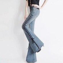 2017 весной и осенью Моды случайные сексуальные плюс размер свободные Сплит женский молодые девушки Спикер джинсы одежда