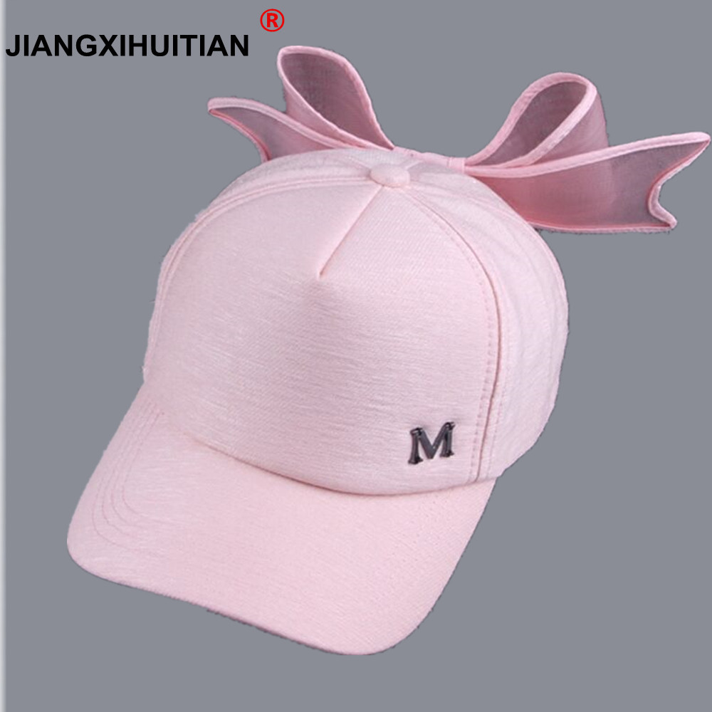 2017 new summer HOT Korea Spring   Cap   M mark Pink Hat with big bow Bending brimmed hat has   baseball     caps   Visor women sun hats