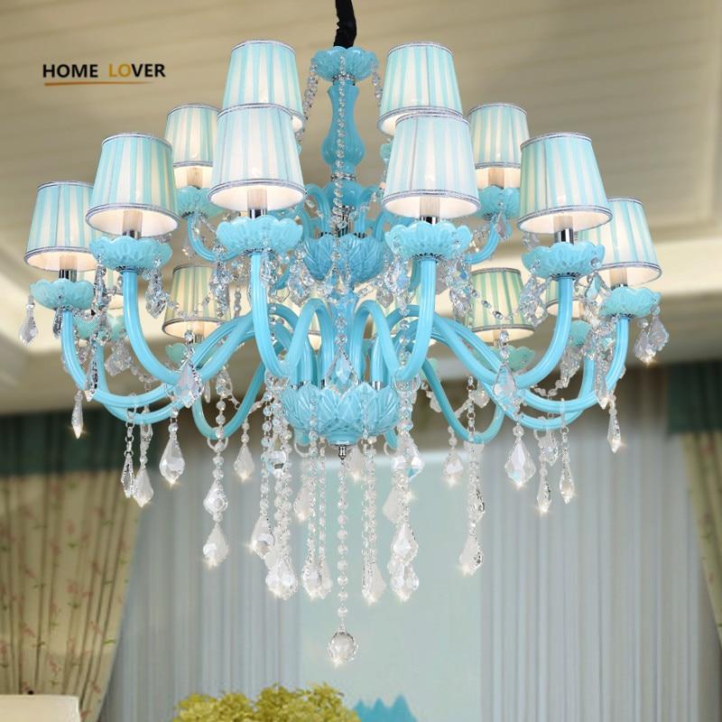 crystal dining room chandeliers | Modern Blue Crystal LED Chandelier Lighting Dining Room ...