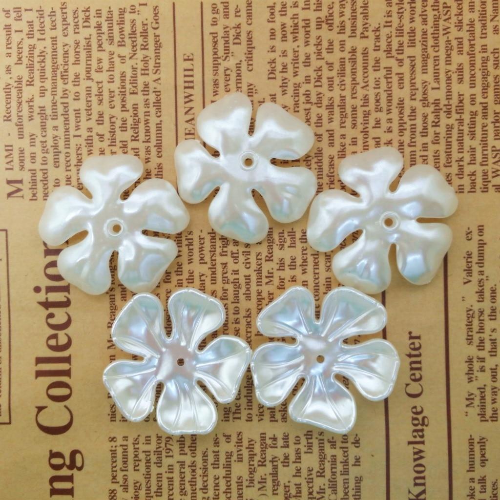 36 мм 35 шт Пять лепестков цветок бусины ABS имитация жемчуга большое отверстие бусины экологическое качество Diy акриловые бусины для рукоделия Бусины    АлиЭкспресс