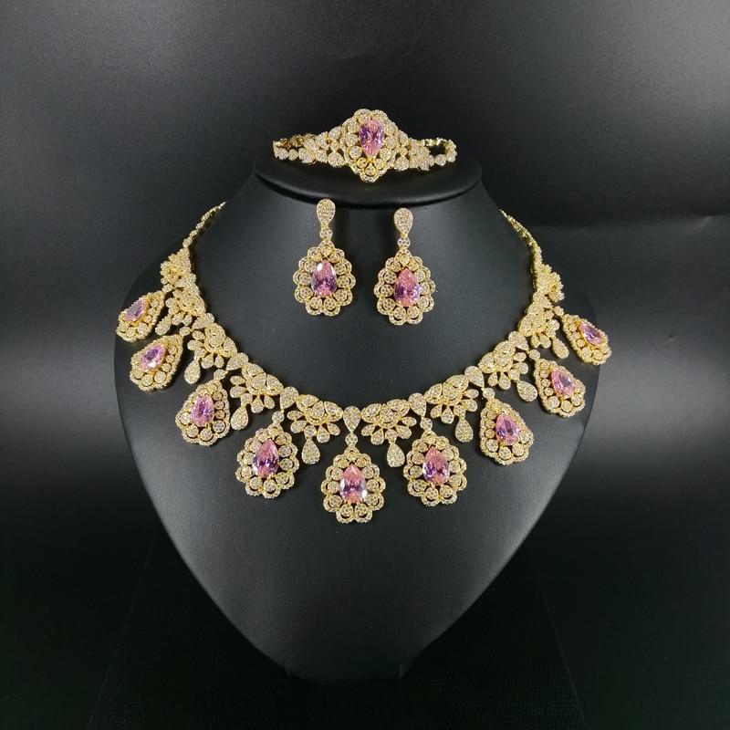 2019 nouvelle mode luruxy rose CZ zircon collier boucle d'oreille bracelet anneau ensemble de bijoux de mariage mariée banquet dressing ensemble de bijoux - 2