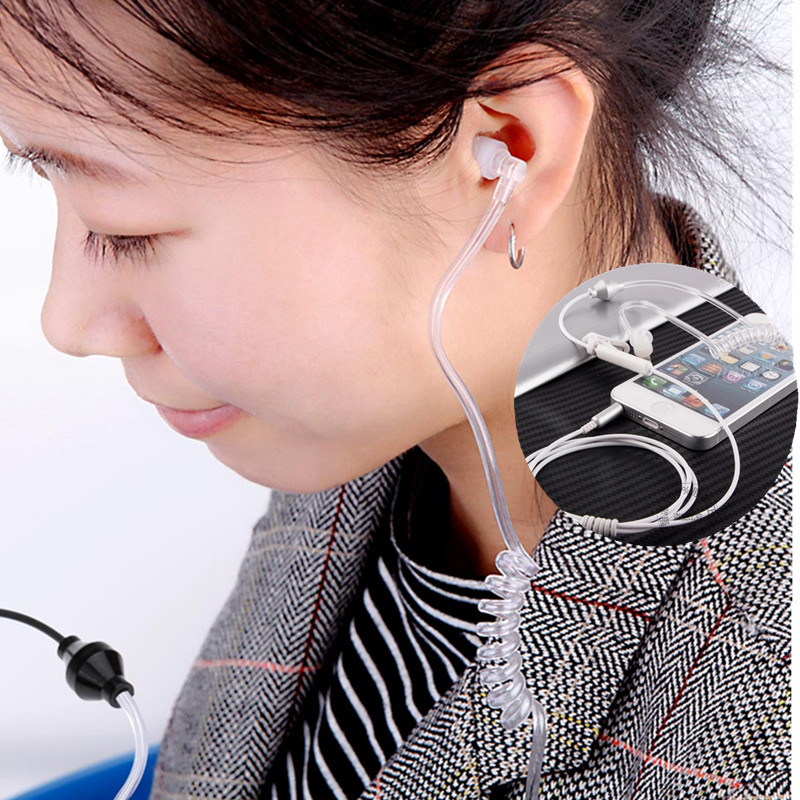 Acoustic Anti-radiation Earphone Spiral Transparent Air Tube Hook With Mic Control 3.5mm Radiation Earphone For Pregnant Women