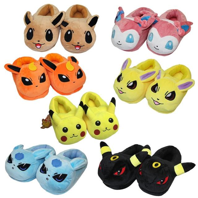 Cartoon plush toys Pikachu Eevee plush shoes Cute indoor fluffy slippers soft stuffed winter plush adut
