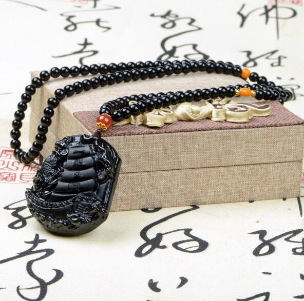 Drop shipping Original design redAgate with wax and black obsidian plain long sweater chain necklace pendant