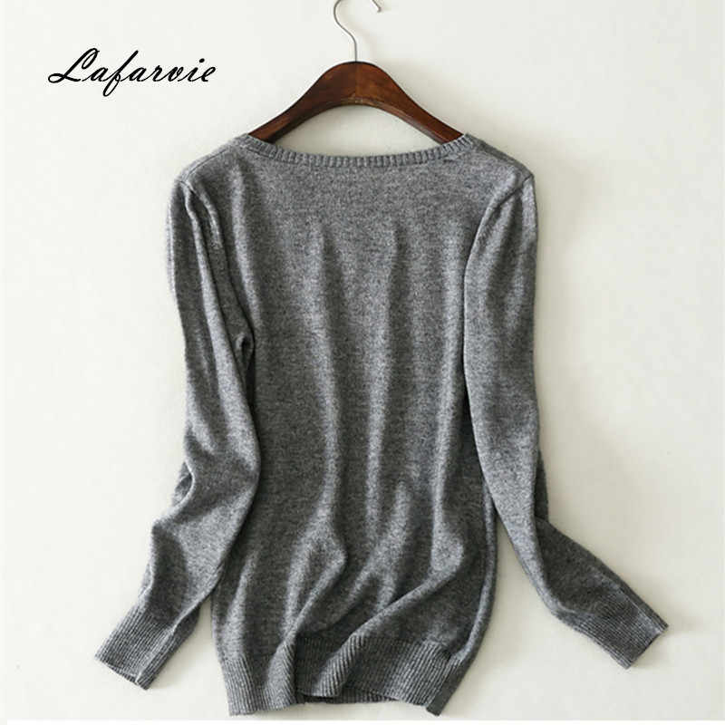 Lafarvie 2019 New Women Clothes Fashion Cashmere Women Full Sleeve Solid Winter Cashmere & Wool Pullovers Sweater O-Neck
