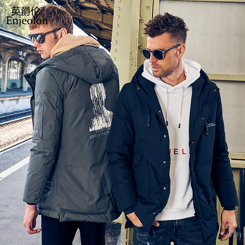 Enjeolon Brand Winter Thick Winter Hoodies Long   Down   Jacket Men Printing Parka   Coat   Male Warm Parka   Coat   3XL   Down   Parka YR2708