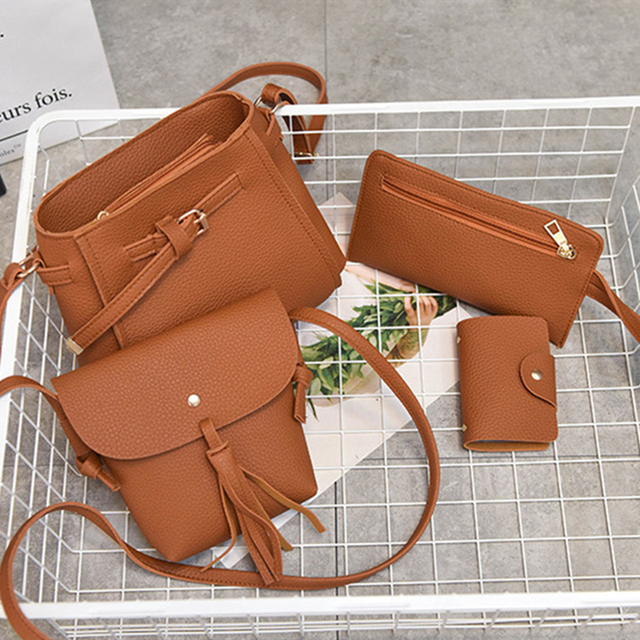 de54dc94dcef 4Pcs Set Fashion Women Faux Leather Shoulder Tote Purse Messenger Clutch Bag