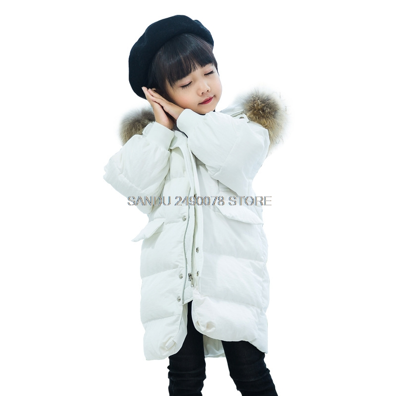 Winter White Duck Down Jacket for Girl 2018 Fashion Children Coat Kids Warm Thick Fur Collar Hooded Long Down Parka for Teenage women winter coat jacket 2017 hooded fur collar plus size warm down cotton coat thicke solid color cotton outerwear parka wa892