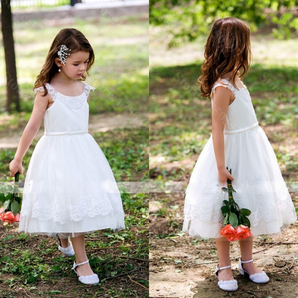 2015 real cute a line white dress scoop neck flower girl dresses