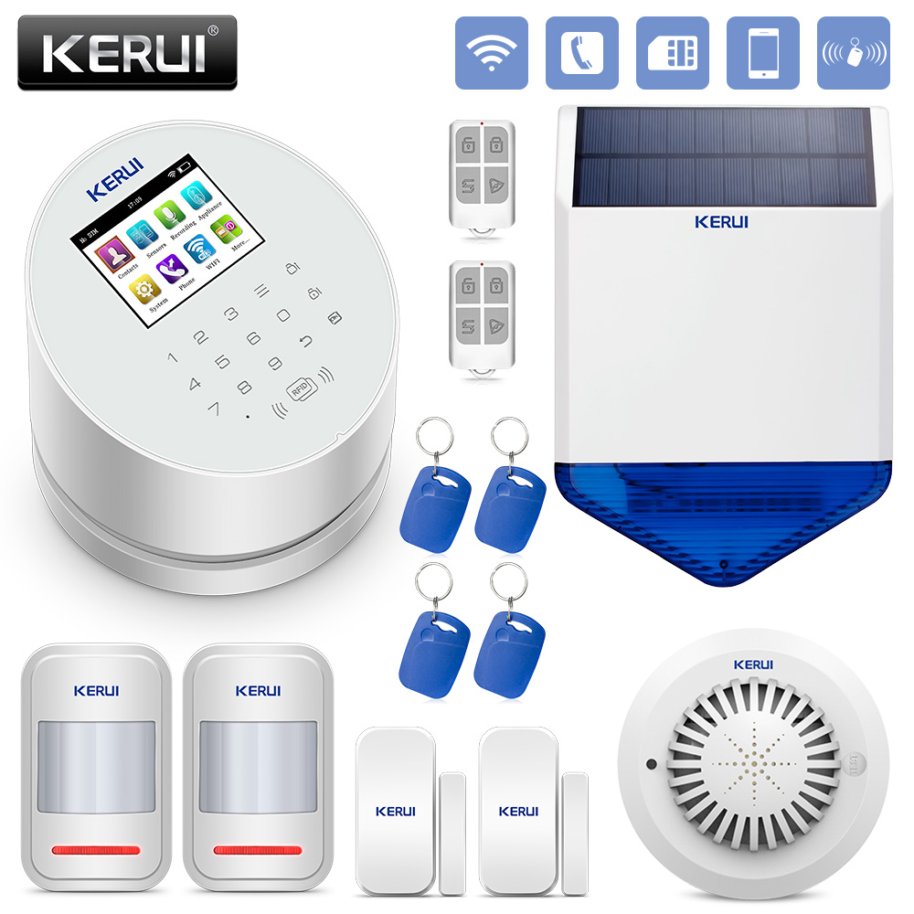 KERUI Alarm Systems Security Home Smart Residential Wireless Alarm System Burglar Alarm WiFi/GSM/PSTN new kerui wireless portable remote control for gsm pstn home alarm system kr8218g home security voice burglar smart alarm system