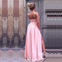 Sexy Spaghetti Straps A Line Prom Gowns Custom Made Long Dresses Simple V Neck Pink Side Slit Evening Party Dresses