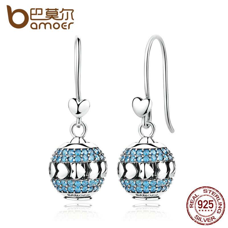 BAMOER Exclusive Design 100% 925 Sterling Silver Heart To Heart Blue Crystals Drop Earrings Set With Beads DIY Fine Jewelry romero britto teacup and saucer set heart design