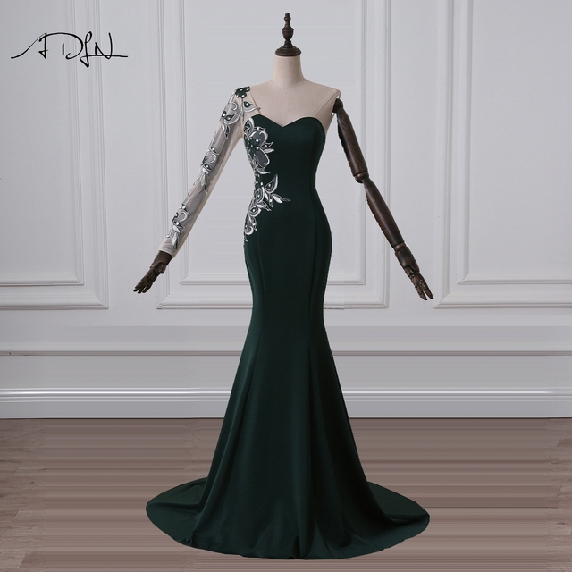 ADLN Dark Green Evening Dresses Long Sleeves Jersey Formal Mermaid Party  Gown with Embroidery Cheap Special Occasion Wear 643d563b2432