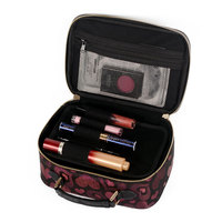Gold Jacquard Printed Three Layer Makeup Package Bag Waterproof Professional Travel Make Up Brushes Tool Box