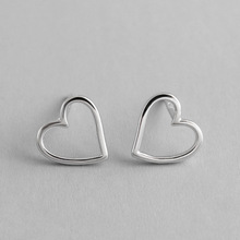 100% S925 Sterling Silver ear stud geometric Hollow Love Heart Stud earrings female Woman Gift silver ornaments smooth small simple puzzle stud earrings 100% s925 pure silver gold leaves irregular geometry ear fashion jewelry woman gift