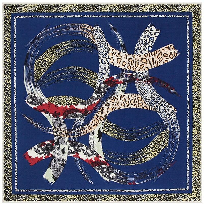 Velká keprová dámská šála kruhová geometrie leopardí tisk Facecloth Cape hedvábný šátek 100 x 100 cm muslimské hidžábové čtvercové šátky