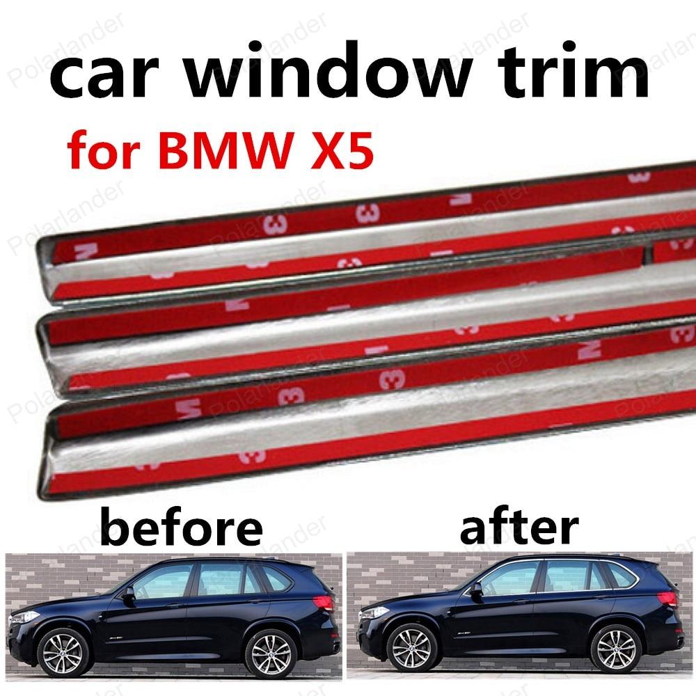 Hot verkopen Voor BMW X5 Vensterversiering Rvs Decoratie Strips Auto Accessoires Styling zonder kolom
